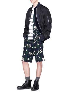 Sacai Heart print tartan plaid belted linen shorts