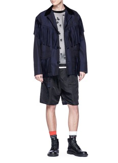 Sacai Stripe outseam belted shorts