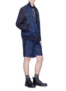 Sacai Heart print check belted shorts