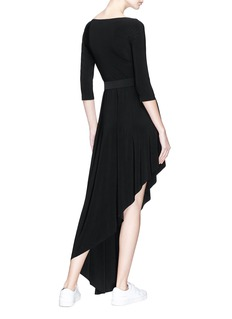 Norma Kamali Belted reversible diagonal hem jersey dress