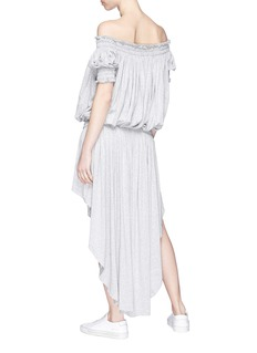 Norma Kamali Off-shoulder high-low jersey peasant dress