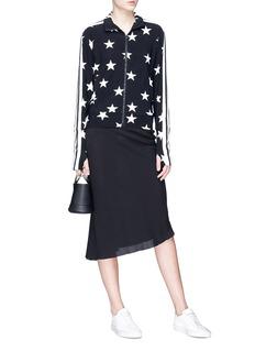 Norma Kamali Stripe trim star print turtleneck jacket