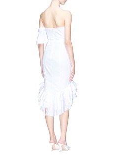 Caroline Constas Asymmetric ruffle strapless poplin dress