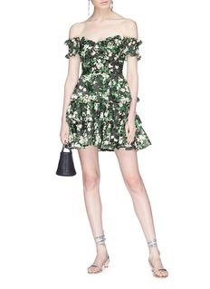 CAROLINE CONSTAS Helena花叶印花层叠荷叶边抹胸连衣裙