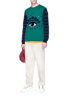KENZO 'Eye' embroidered stripe sleeve sweater