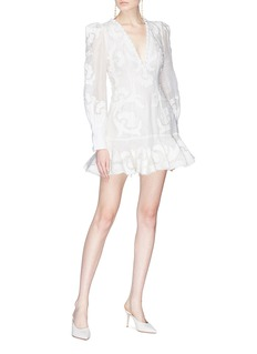 Zimmermann 'Radiate' open back swirl appliqué flip dress