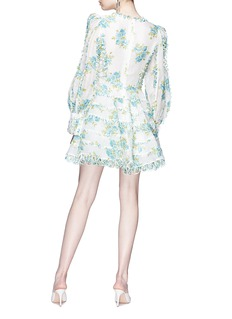 Zimmermann 'Whitewave Honeymooners' loop border floral print organza mini dress