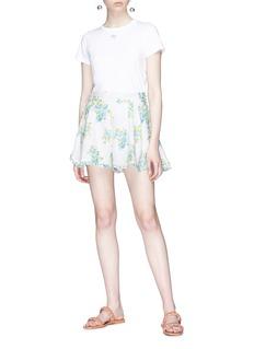 Zimmermann 'Whitewave Honeymooners' loop trim floral print organza shorts