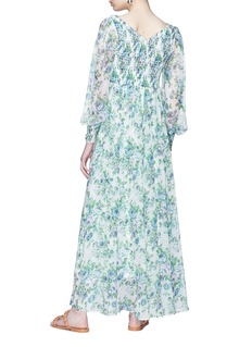 Zimmermann 'Whitewave Shirred' floral print georgette maxi dress