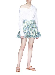 Zimmermann 'Whitewave Laced' cutout floral print organza flip skirt