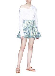 Zimmermann 'Whitewave Laced' cutout floral print organza flip skirt