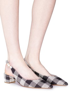 Mansur Gavriel Gingham check canvas slingback pumps