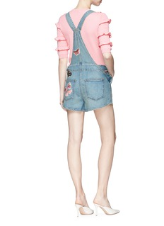 Valentino Beaded butterfly patch denim short dungarees