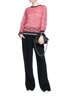 Valentino Stripe hem floral guipure lace top