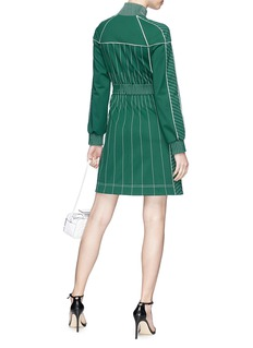 Valentino Zip front contrast stitching jersey turtleneck dress