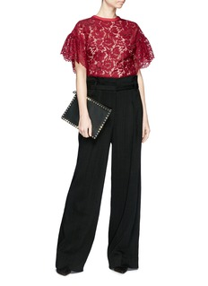 Valentino Butterfly appliqué floral guipure lace top