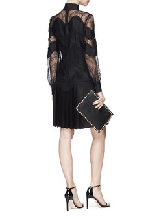 Valentino Floral guipure lace panel overlay pleated silk satin dress