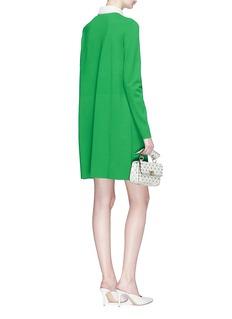 Valentino Floral guipure lace yoke knit polo dress