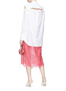 VALENTINO 镂空切割府绸衬衫拼接蕾丝连衣裙