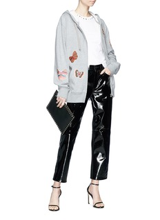 Valentino Embellished butterfly appliqué zip hoodie