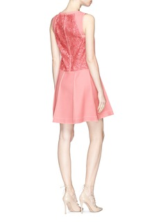 Valentino Floral guipure lace panel pleated twill dress
