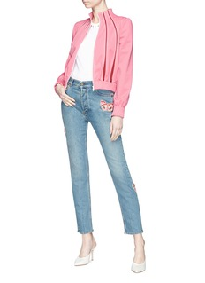 Valentino Embellished butterfly appliqué cropped straight jeans