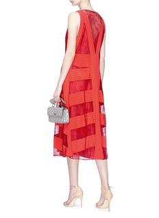 Valentino Floral guipure lace panel silk crepe de Chine dress