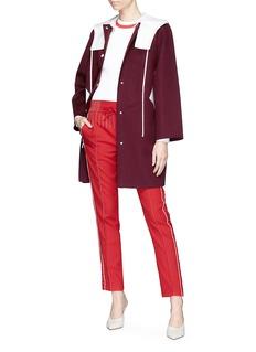 VALENTINO 拼色设计初剪羊毛混羊绒连帽外套