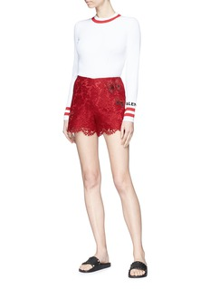 Valentino Butterfly appliqué floral guipure lace shorts