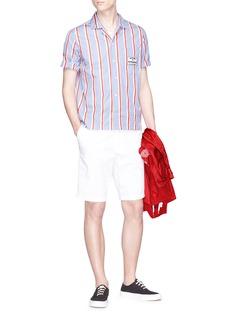Maison Kitsuné Slogan badge stripe short sleeve shirt