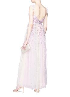 NEEDLE & THREAD Rainbow亮片网纱拼接露背礼服长裙