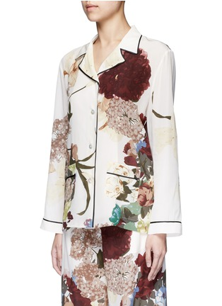 Front View - Click To Enlarge - Valentino - Floral print silk pyjama shirt