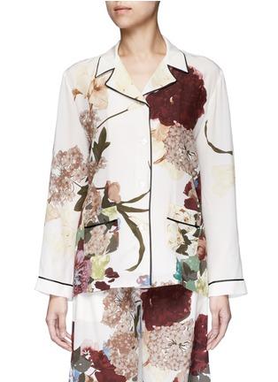Valentino-Floral print silk pyjama shirt