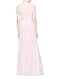 Needle & Thread 'Mirage' floral embellished ruffle tulle gown