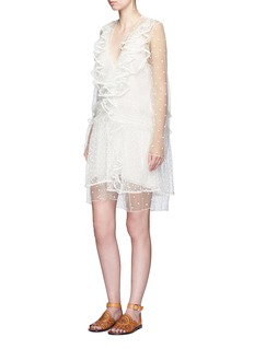 Chloé Dot embroidered ruffle tulle dress