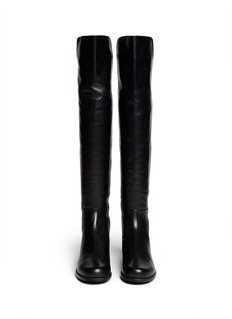 Stuart Weitzman'5050' panelled scuba jersey faux leather kids boots