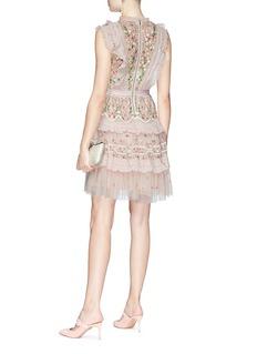 Needle & Thread 'Lattice Rose Mini' ruffle floral embroidered tulle dress