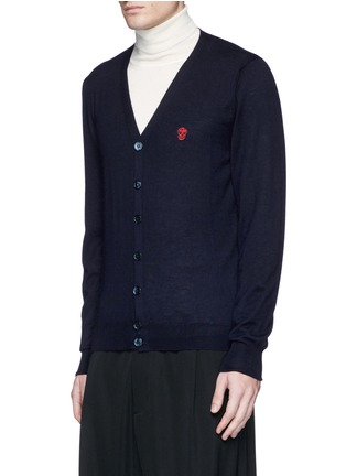 Front View - Click To Enlarge - Alexander McQueen - Skull embroidery cashmere cardigan