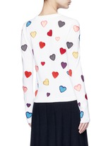 Rainbow button hearts embroidery wool cardigan