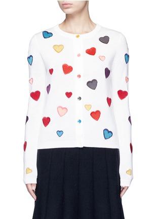 Main View - Click To Enlarge - alice + olivia - Rainbow button hearts embroidery wool cardigan