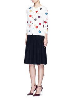 alice + olivia Rainbow button hearts embroidery wool cardigan