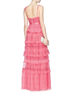 Needle & Thread 'Iris' ruffle floral embroidered tulle camisole gown