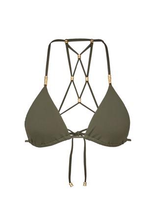 Main View - Click To Enlarge - ViX - 'Lucy Military' lattice back bead triangle bikini top