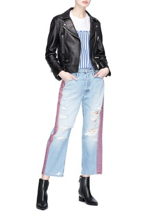 MOTHER 'Thrasher' stripe outseam ripped jeans