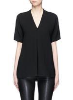 Pintuck pleat V-neck blouse
