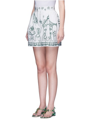 Front View - Click To Enlarge - Dolce & Gabbana - Victorian Garden print twill shorts