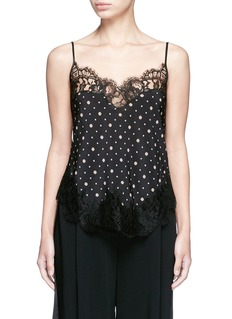 Givenchy Lace trim microprint silk crepe de Chine camisole