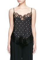 Lace trim microprint silk crepe de Chine camisole