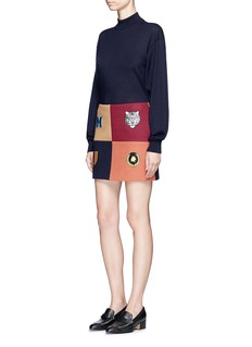 Stella McCartney 'Moana' embroidered badge colourblock melton skirt