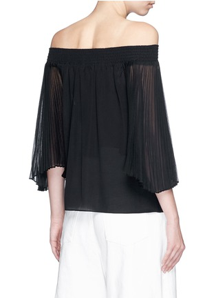 Back View - Click To Enlarge - alice + olivia - 'Elina' pleat sleeve off-shoulder top